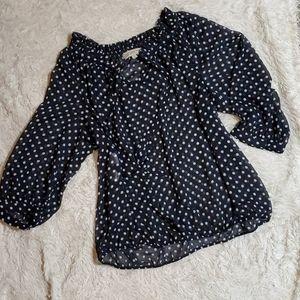 Navy blue sheer polka-dot blouse